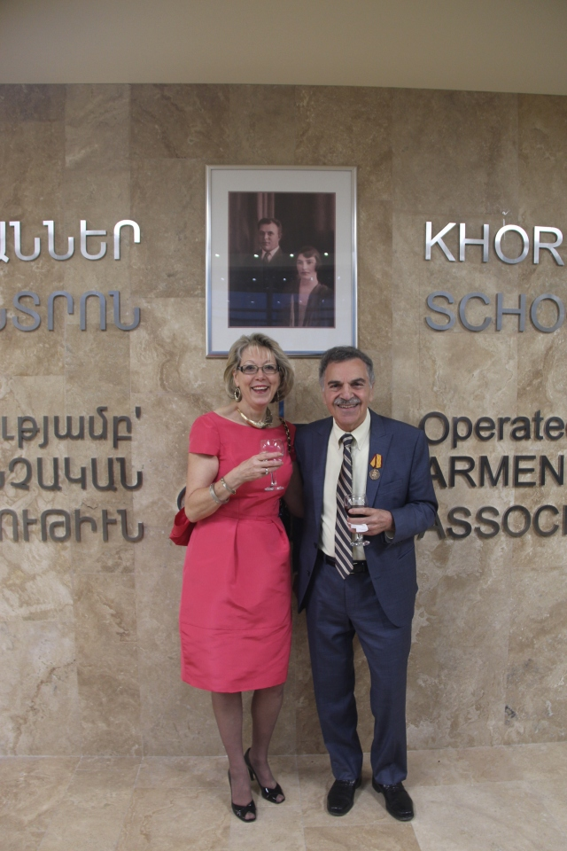 Edward and Pamela Avedisian Celebrating the Opening of Avedisian School